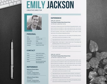 Modern Resume Template & Cover Letter + for Microsoft Word | 3 Page Pack | Professional CV | Instant Download