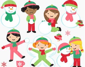 winter clipart clip art digital snow - Snow Day Girls Digital Clipart - BUY 2 GET 2 FREE