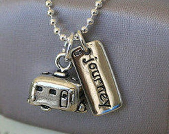 Retro Airstream Camper Sterling Silver Tiny camper necklace