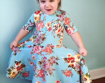 Spring Aqua Floral Full Twirl Dress  Custom Dress Easter Spring Collection LIMITED Easter 2 3 4 5 6 8 10 12