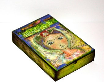 Frida Fairy - ACEO Giclee print mounted on Wood (2.5 x 3.5 inches) Folk Art  by FLOR LARIOS