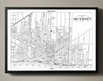DETROIT Map Print, Black and White Detroit Wall Decor