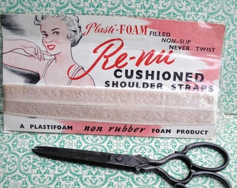 Vintage Sewing Notions 1940s 1950s Fabric Shoulder Straps for Women's Lingerie Underwear Undies - original packaging / graphics 40s 50s