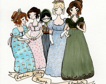 The Miss Bennets. Pride and Prejudice Fan Art. Watercolor Print.