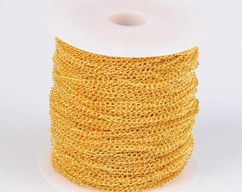 2M Gold Tone Curb Link Chain 5x3mm (S5)