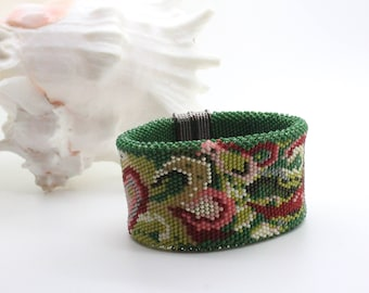 """Two sided Beaded Crochet Bracelet  """"TAPESTRY"""" Two in One Statement Bracelet Green Red Pink Unique Abstract Design Reversible Cuff"""