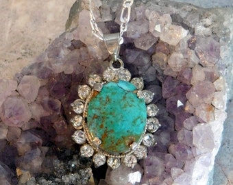 Vintage Turquoise and Silver Plate Pendant Necklace Surrounded by Rhinestones - Large 18 x 15 mm Oval Stone - Boho Style - Sterling Chain