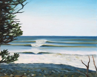 GICLEE Fine Art Reproductions on 8.5x11 PAPER - Lawrencetown Point by Daina Scarola (evergreens, waves, surf, Eastern Shore, Nova Scotia)