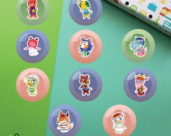 Villagers #6 Buttons | Animal Crossing New Leaf | Octavian Biskit Puddles Mabel Bertha Scoot Rasher Velma Chief Pate