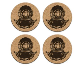 Vintage Deep Sea Diving Helmet Nautical Coastal Cork Coaster Set Of 4 Home Decor Barware Decoration