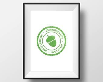 Print – Raleigh Acorn Badge, Green