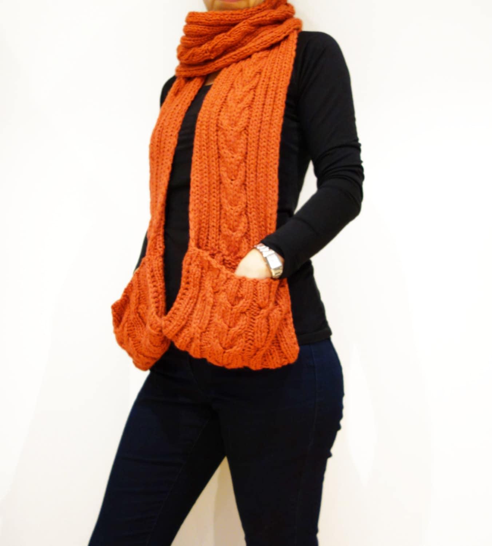 Pocket Scarf Knitting PATTERN- Chilly Chili Scarf/Ribbed Pocket ...
