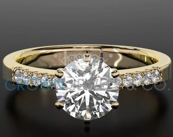 Engagement Ring With Accents 1.05 ct Round Brilliant Cut Diamond Certified D SI Ladies Yellow Gold Ring 18K Setting