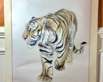 Large Chinese Scroll of Chinese Asian Tiger, signed by Artist.  Pastel Drawing