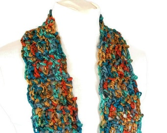 Fringed Fashion Scarf - Jewel Tone - Crocheted Skinny Accent Scarflette