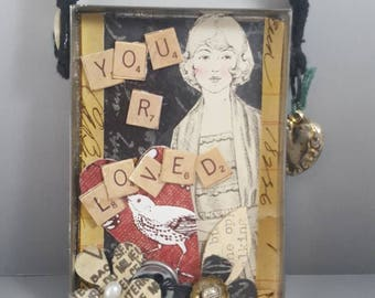 Assemblage collage mixed media altered art bird girl black red I love you gift FREE SHIPPING  in USA