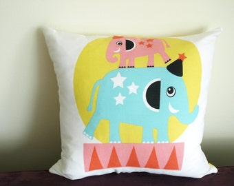 Pillow cover white colorful Circus animal Bear Mouse Elephant Kids Room Decorative pillow for Throw pillows Floor Cushions Accent Pillows