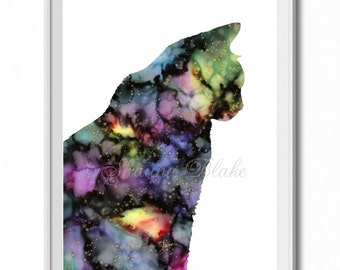 Art Print, Silk Painting print, Home Decor, Wall Art, Poster, Galaxy Cat