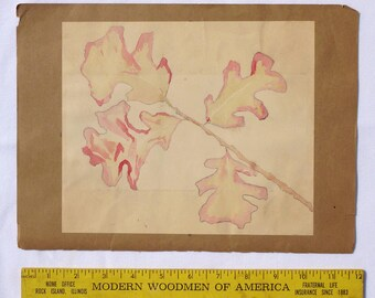 Folk art painting of oak leaves, outlined in pencil and painted in watercolors, by outsider artist Virginia Love. (Offers Considered)