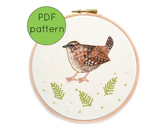 Bird Embroidery Pattern Digital Download, Wren