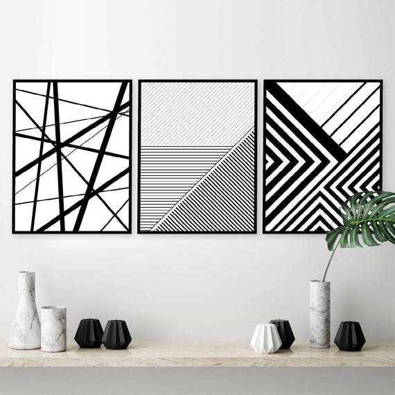 Printable art set of 3 geometric prints set of 3 prints downloadable prints black white posters wall art prints art geometric lines