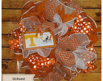 Handmade Tennesse Themed Mesh Wreath