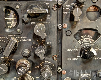Aviation Home Decor   Photo Of Vintage Aircraft Control Switches