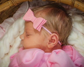 Pink Glitter Newborn headband - infant headband - newborn glitter bow headband - newborn photo prop headband - baby girl headband - girl bow