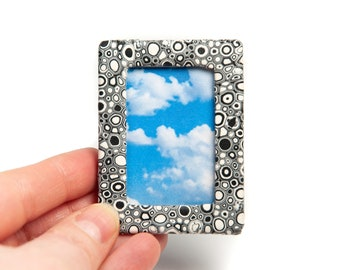 Polymer Clay Tiny Photo Frame, Black and White Picture Frame, Tiny Picture Frames, Mini Photo Frames Miniature Photo Frame Retro Photo Frame
