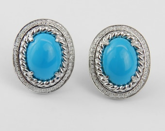 14K White Gold Diamond and Turquoise Halo Earrings Omega Clip Rare Color