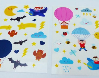 reusable stickers for window sky clouds cloud air balloon Moon Sun Flash 2 boards reusable window decal sticker