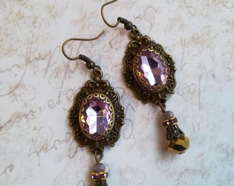 Gothic Earrings Antiqued gold Bronze with Lilac stone - Victorian Filigree Goth Earrings Gothic Filigree Ornate Earrings