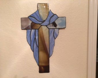 "Stained Glass Cross 15"" tall X 10-1/2"" wide"