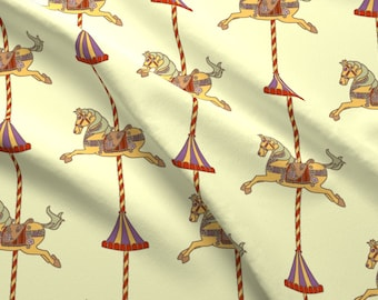 Carousel Horses Fabric - Carousel By Kim Buchheit - Carousel Horse Carnival Nursery Yellow Cotton Fabric By The Yard With Spoonflower