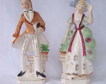 Matching Pair of Hand Painted Porcelain Colonial Figurines, Made in Japan