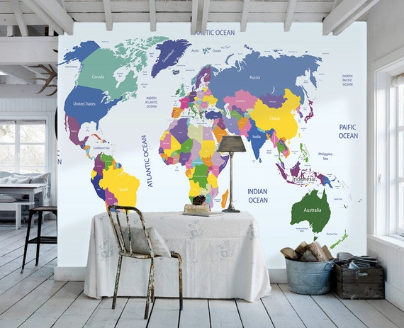 World map removable wallpaper peel and stick map wall sticker gumiabroncs
