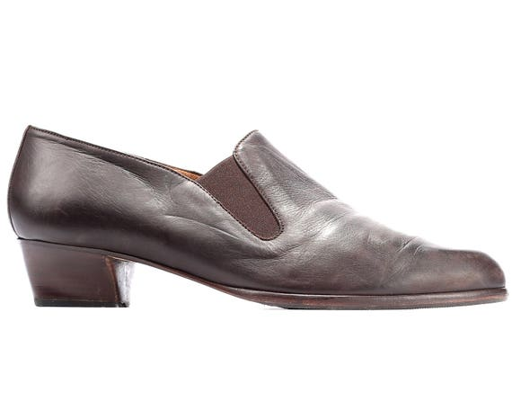 Heeled Cuban Uk Manly Loafers Wide Leather EU Fit 80s European women Shoes 9 Quality Brown Flat Retro Vintage US 5 40 7 Ankle Heel Women wUxIXqg6
