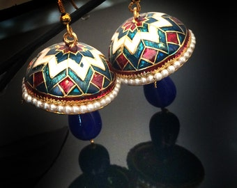 Royal Blue Jhumka Earrings,Gold Pearl Jhumkas,Ethnic Jewelry,Indian small Jhumkis,traditional jewelry by TANEESI