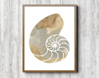 Watercolor Nautilus Sea Shell Art Print - Beige / Grey Wall Art- Office Wall Decor - Neutral Art- Beach Theme Poster -Sea Creature  -Digital