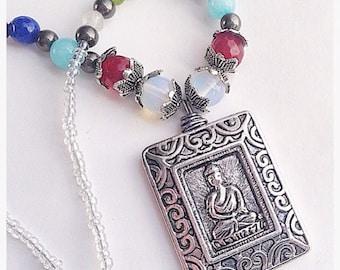 Chakra Buddha Beaded Seven Stone Reversible Necklace Handmade