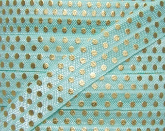 Aqua and Gold Metallic Polka Dot Print Fold Over Elastic - Elastic for Baby Headbands and Hair Ties - 5 Yards 5/8 inch Printed FOE