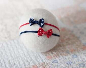 Red White Blue Baby Headband, American Flag Headband, Patriotic Newborn Headband, Star Bow Baby Headband, Great Photography Prop
