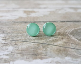 Mint green earrings, Mint earrings minimalist, Mint stud earrings, Gifts for friends women, Summer earrings, Cute stud earrings, Mint studs