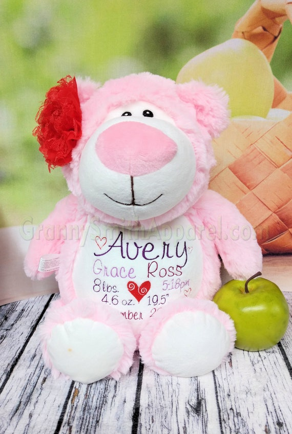 "PINK bear plush stuffie Customize & personalize a 12"" embroidered, valentine, Easter, newborn, christening, baptism, or as a memory bear"