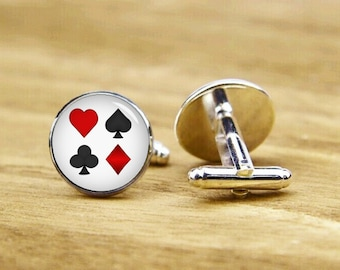 Playing Card Cufflinks, Personalized Cufflinks, Groom Cufflinks, Poker Cufflinks, God of Gamblers, Round, Square Cufflinks, Tie Clip, Or Set