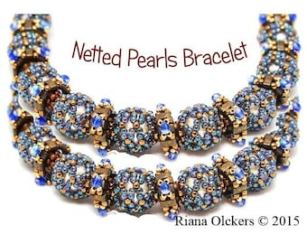 Beading pattern, Netting stitch, Netted Pearls Bracelet with Embellished Squares Pattern