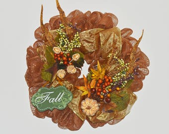 Fall Deco Mesh Wreath, Front Door Wreath, Fall Decor