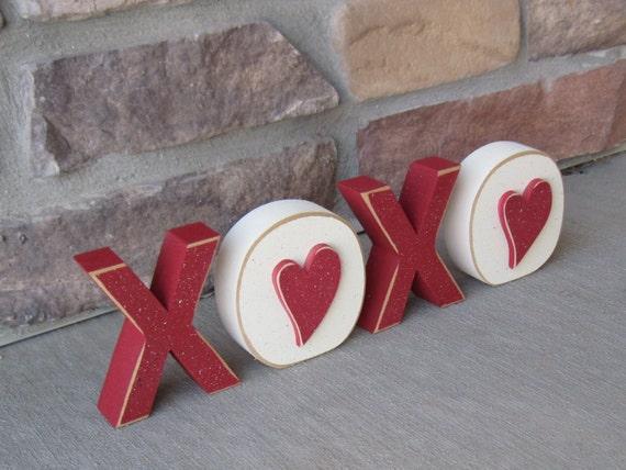 Xoxo Blocks For Valentines Shelf Desk Mantle And Home Decor