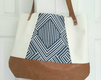 Blue Off White Brown Faux Leather Handbag, Tote Bag, Travel Bag, Diaper Bag, Laptop Bag, Large Handbag, Work Bag, Blue Print, Gift for Her