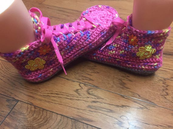 slippers shoes Listing Tennis 8 Crocheted pink Sneaker house shoes house pink Shoe slippers 10 Womens daisy Slippers flower 171 slippers FAXqC
